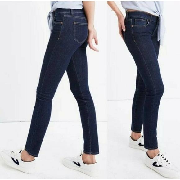 "Madewell Dark Wash 9"" Mid Rise Skinny Jeans 32"